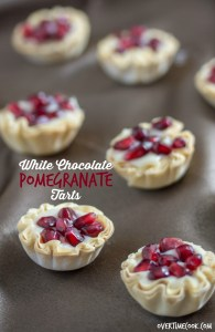 white chocolate pomegranate tarts on overtimecook