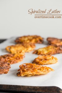 Spiralized Potato Latkes on OvertimeCook.com