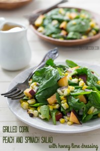 Grilled Corn, Peach and Spinach Salad with Honey Lime Dressing