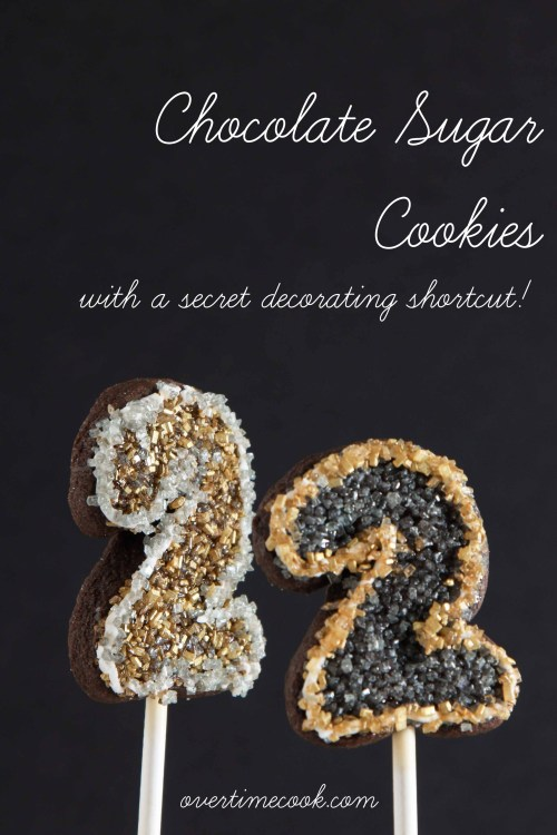 Chocolate Sugar Cookies with a decorating shortcut