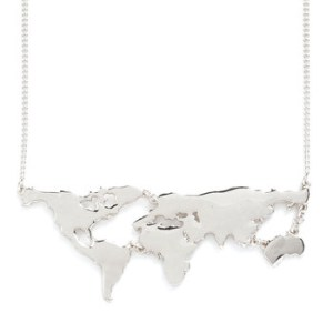Map Necklace Silver