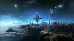 Ilustração de como poderia ser uma cidade alienígena com tecnologia avançada.