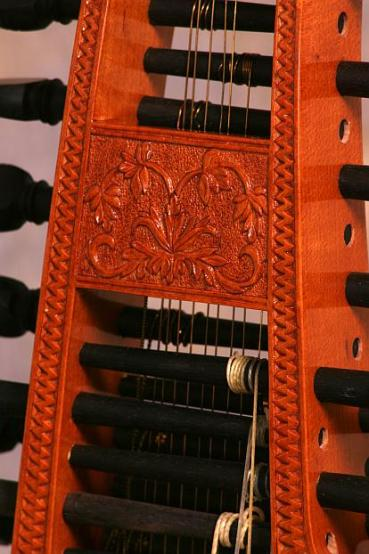 Baroque Baryton peg box carving