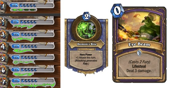 Work in progress examples of Fury UI options, the hero power and a card design.