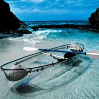 Transparent Kayak - very pretty but not very practical for the Ozarks