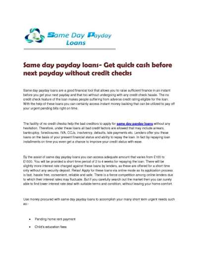 Calaméo - Same day payday loans- Get quick cash before next payday without credit checks