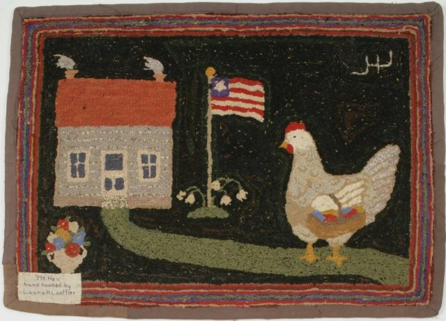 24: Pictorial Hooked American Rug: Ms. Hen