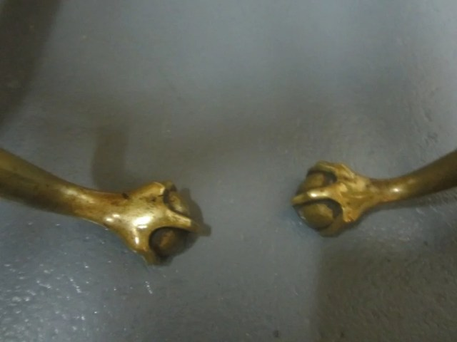 57: Pair of Chippendale Brass Engraved Andirons