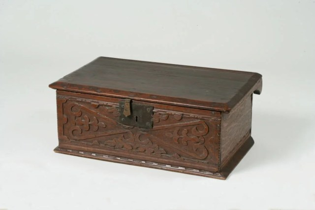 65: Carved White Oak and White Pine Bible Box