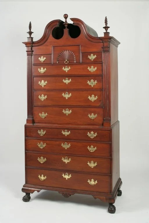75: Chippendale Mahogany Bonnet-Top Chest-on-Chest