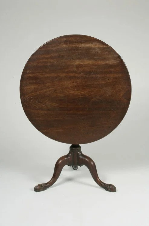93: Double Spiral Shaft Tilt-Top Mahogany Tea Table