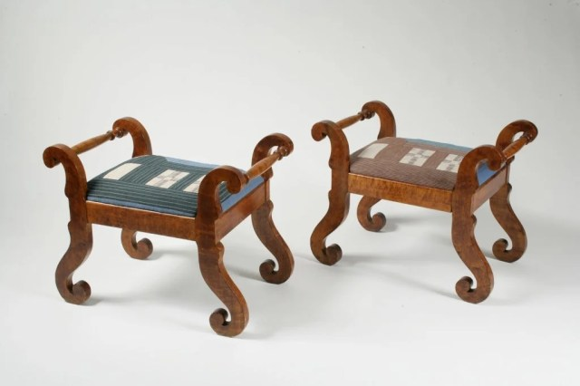 100: Pair of Classical Figured Maple Stools