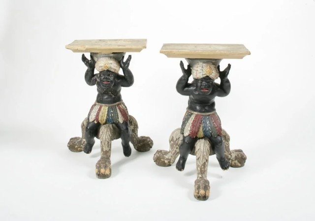109: A Pair of Polychrome Painted Bass-Wood Blackamoors