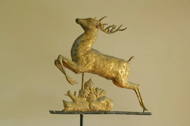 123: Gilt Copper Leaping Stag Weathervane