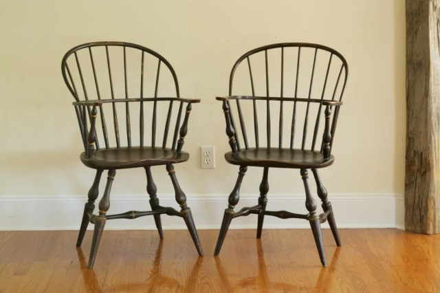 126: Pair of Painted Sack-Back Windsor Armchairs