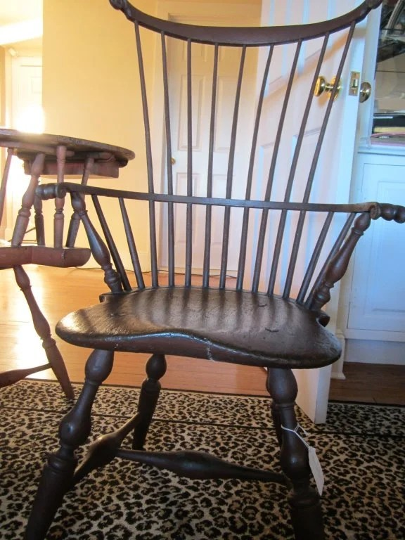 138:Red Painted Comb-Back  Windsor Arm Chair
