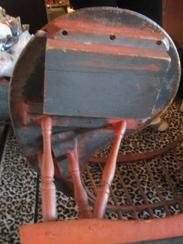 139: Red Painted Comb-Back Writing Arm Windsor Chair