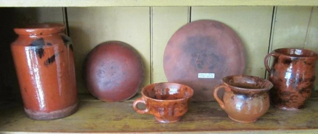 146: Four Redware Vessels and Two Slipware Plates
