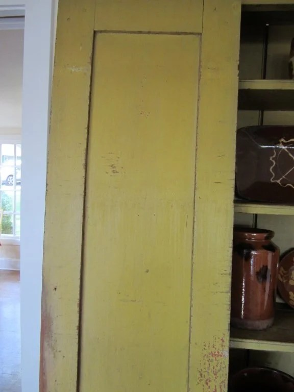 149: Yellow and Red Painted Cant-Back Cupboard