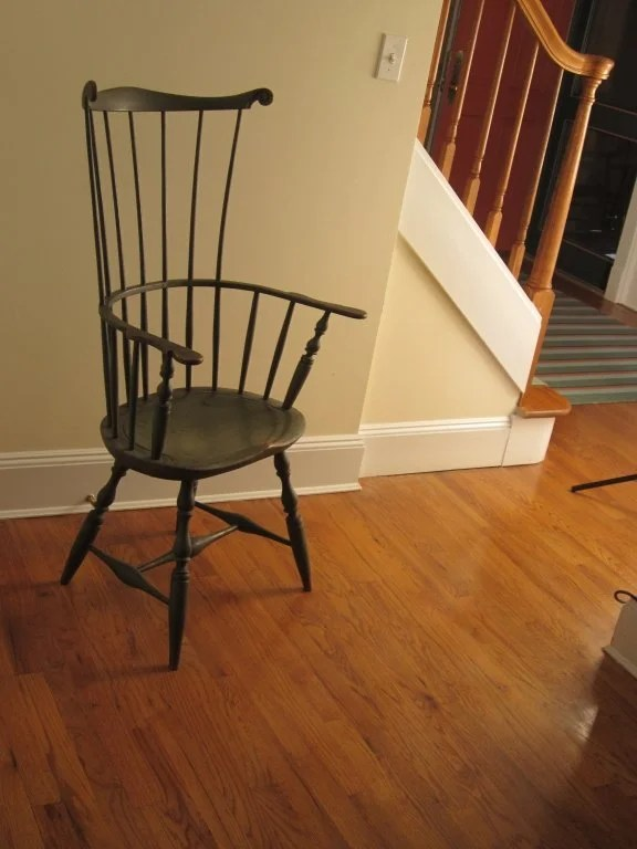 151: Green Painted Comb-Back Windsor Arm Chair