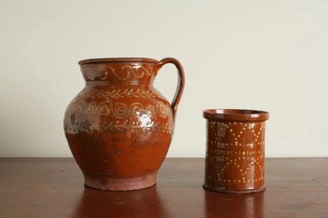 162: A Glazed Redware Jar  and a Redware Pitcher
