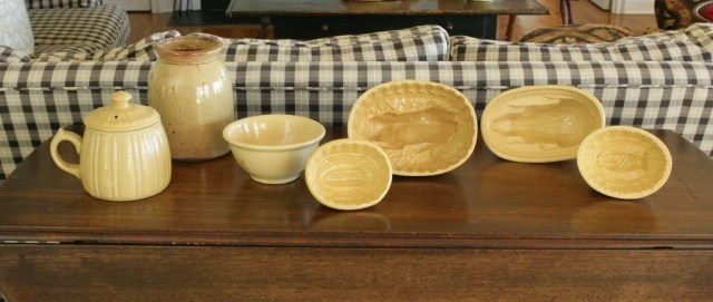185: A Group of Seven Yellow Ware Molds and Vessels