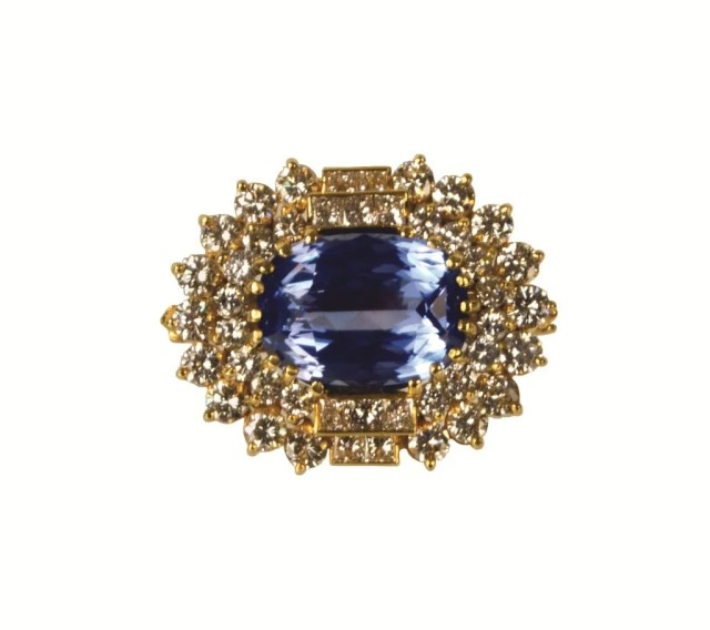 222: A Yellow Gold, Sapphire and Diamond Pendant
