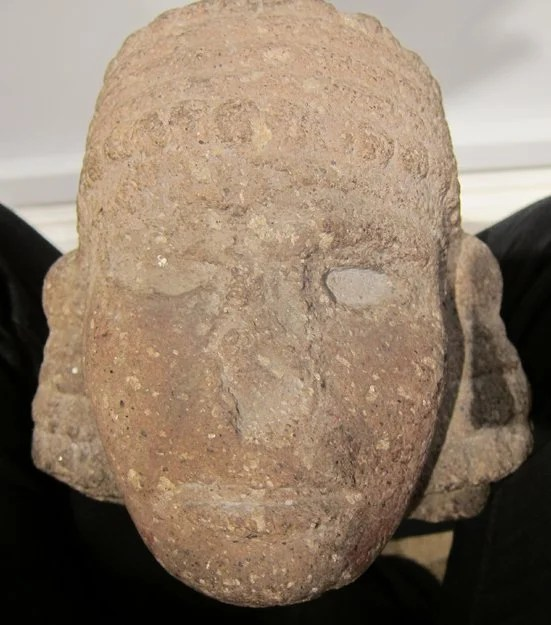 242: Aztec Carved Stone Head of a Man