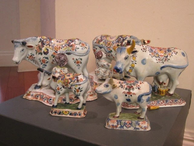 215A: Group of Five Polychromed Tin-Glazed Delft Cows