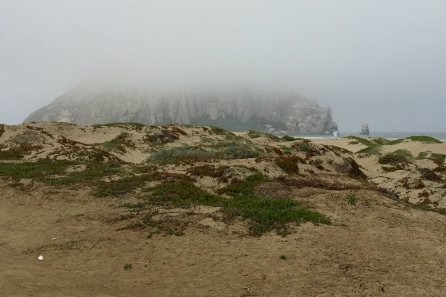 """The Rock"" seen in the marine layer fogginess."