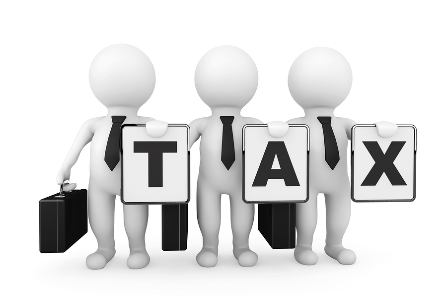 3D Businessmans With Tax Sign