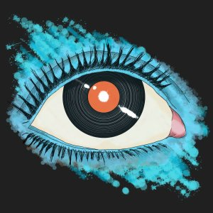Vinyl record pupil digital illustration