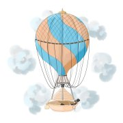Dreamer vintage hot air balloon illustration