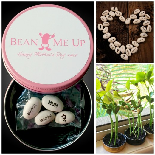 Beans that grow with beautiful messages! What a unique gift idea. Perfect for Mother's Day.