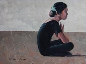 Robert-Genn_Seated-Girl-in-Black_12x16_1971_oil-on-canvasboard