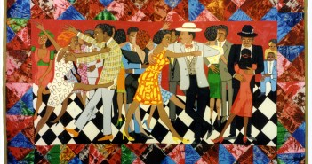 Groovin High (1986), acrylic on canvas, tie-dyed, pieced fabric border, 56 x 92 inches by Faith Ringgold