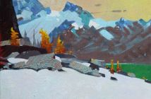 An Aspect Above Lake McArthur (2014)  11 x 14 inches, acrylic on canvas by Robert Genn (1936-2014)
