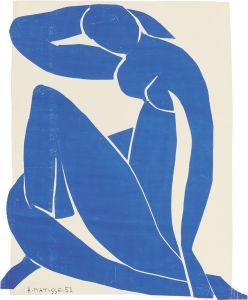 Blue Nude II, 1952 Gouache on paper, cut and pasted, on paper, mounted on canvas, 116.2 x 88.9 cm by Henri Matisse