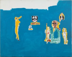 King Zulu (1986) Acrylic, wax and felt tip pen on canvas 79 3/4 x 100 inches by Jean-Michel Basquiat