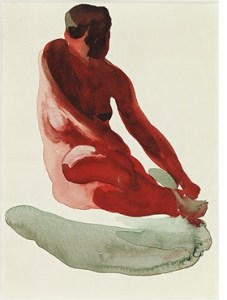 Nude Series (Circa 1916-1919) watercolor on paper by Georgia O'Keeffe