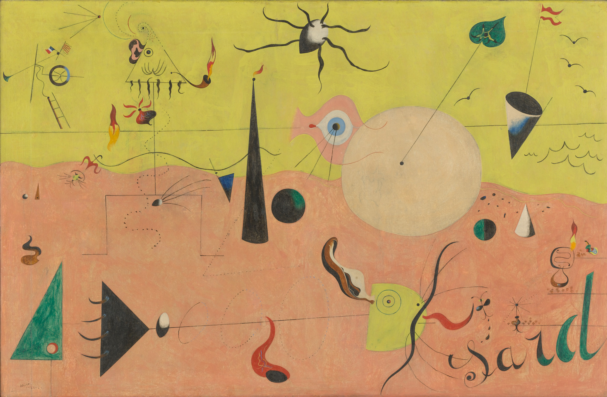 Joan-Miro--.-The-Hunter-Catalan-Landscape.-1923---24.-Oil-on-canvas-25-12-x-39-1222-64.8-x-100.3-cm.-Purchase.----2019-Successio---Miro--Artists-Rights-Society-ARS-New-YorkADAGP-Paris