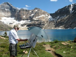 A 30 x 34 underway on the meadow above Lake McArthur. The metal easel is a Soltek. The lightweight parasol is held with bungees. The rig only blew over once.