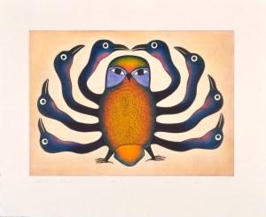Guardian Owl, 1997 Etching and aquatint 80 x 98 cm by Kenojuak Ashevak
