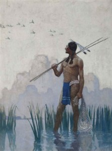 Indian Brave Fishing, 1923 oil on canvas, 40 x 30 inches by N.C. Wyeth