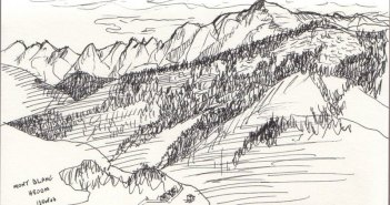 """Mont Blanc"" pen and ink sketch by Edward Abela"