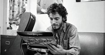 "Bruce Springsteen and his debut album ""Greetings From Asbury Park"" in 1972.  Art Maillet photo"