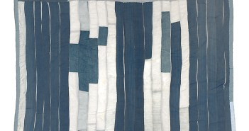 Blocks and Strips Work-Clothes Quilt, c. 1950s Denim and cotton twill 87 x 66 inches by Emma Lee Pettway Campbell (1928-2002)