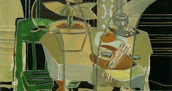 Interior with Palette, 1942 Oil on canvas 55 5/8 × 77 inches by Georges Braque (1882-1963)