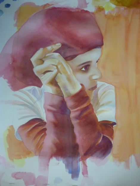 learn watercolor, painting portrait