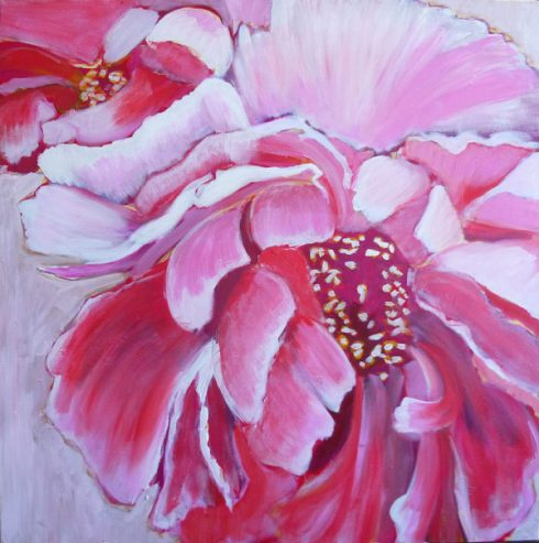 painting of peonies, glazing white acrylic
